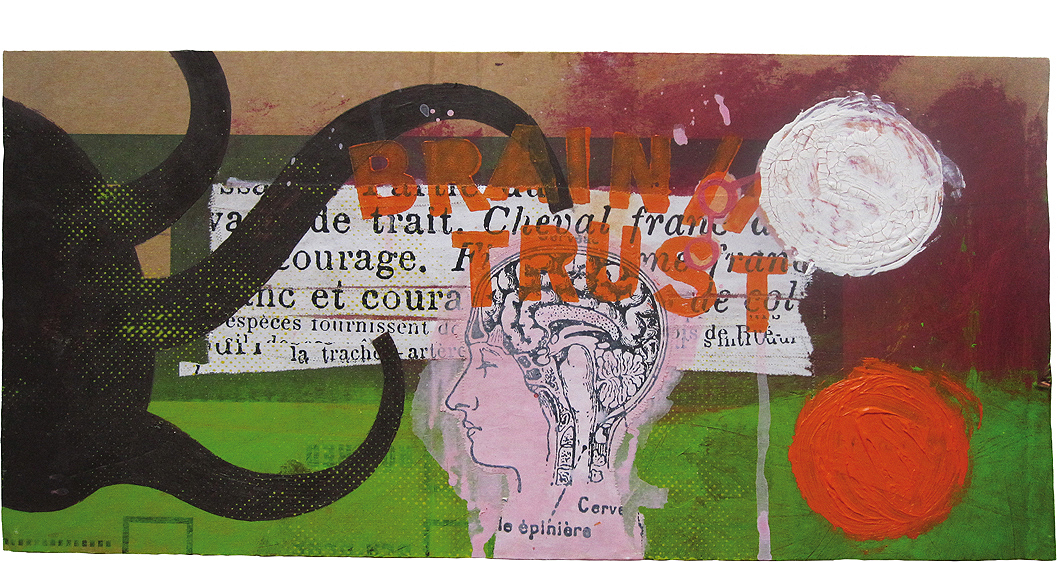 THOMAS ATZENBECK ART KUNST ACRYL ON CARDBOARD ASSEMBLAGE COLLAGE OUTSIDER STREETART